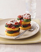 Stacked Polenta and Zucchini with Tomato Sauce