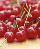 Many Sour Cherries on Wood
