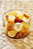 Banana and Nectarine Fruit Salad in Glass Bowl