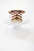 Three Layer White Cake with Cherry Preserves, Coconut and Pecans