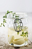 Thyme and Garlic Infused Oil in Jar