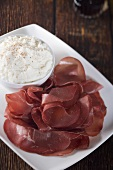 Bresaola on a Platter with Ricotta Cheese
