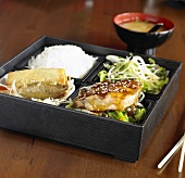 Salmon Teriyaki Bento Box with Rice, Uchi No Salad, Spinach Gyoza, Spring Roll; Miso Soup