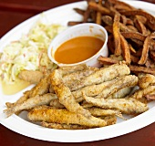 Fried Smelt with Cole Slaw and Sweet Potato Fries