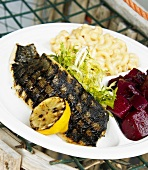 Grilled Trout with Mac and Cheese and Beets
