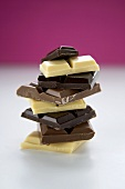 White, Dark and Milk Chocolate Pieces; Stacked