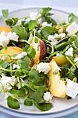 Watercress, Peach and Feta Salad