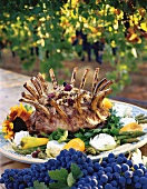 Lamb Rack on Platter on Outdoor Table in Vineyard