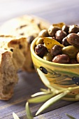 Bowl of Olives with Bread