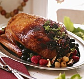 Whole Roast Duck with Fruit on a Platter
