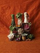 Fresh Vegetable Still Life on Red