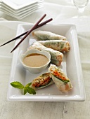 Spring Rolls with Dipping Sauce and Chopsticks