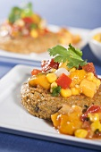 Veggie Cakes with Mango Corn Salsa