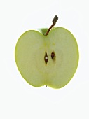 Half a Granny Smith Apple on White