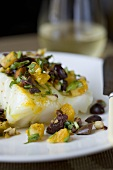 Chilean Sea Bass with Kalamata Olives, Orange Pieces and Herbs