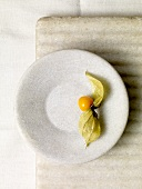 Single Gooseberry with Leaves on a Plate