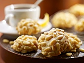 Pignoli Cookies; White Coffee Cups