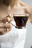 Woman Holding Espresso Cup