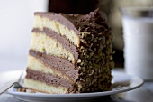 A Slice of Yellow Layer Cake with Chocolate Frosting and Nuts