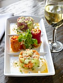 Tuna and Salmon Tartar with White Wine