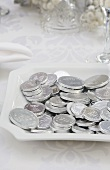 Plate of Chocolate Silver Gelt; Chanukah Coins