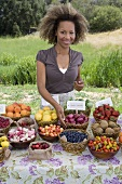 Woman at Outdoor Organic Fruit Market