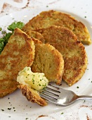 Fried Potato Cakes with Applesauce; On Fork