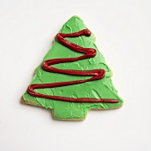 Frosted Christmas Tree Cookie on White