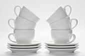 Two Stacks of Coffee Cups and Saucers
