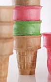Stacked Plain and Colored Ice Cream Cones