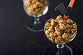 Dish of Caramel Corn with Chocolate; Halloween Decoration