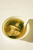 Bowl of Wanton Soup with Spoon