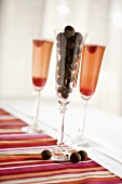 Chocolate Covered Raspberries in Champagne Glass