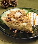 A Slice of Caramel Apple Pie with Vanilla Ice Cream