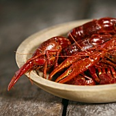 Steamed Crawfish in a Wooden Bowl