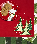 Oatmeal Raisin Cookies on Reindeer Plate; Christmas Place Mat