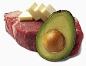 Porterhouse Steak with Butter and Avocado Half