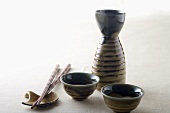 Brown Sake Set and Chopsticks with Holder