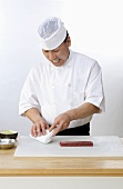 Sushi Chef Preparing Ahi Tuna