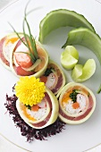 Cucumber Roll with Crab, Salmon,Tuna and Chives