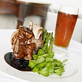 Beef Shank with Gravy, Asparagus, Baby Greens and Beer