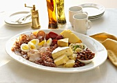 Low Carb Platter with Assorted Meats, Cheeses, Nuts and Eggs