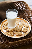 Plate of Animal Crackers with a Glass of Milk
