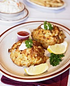 Two Lump Crab Cakes with Lemon Slices