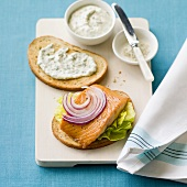 Salmon Sandwich with Red Onion