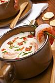 Bowl of Shrimp Chowder with Fresh Chive Garnish