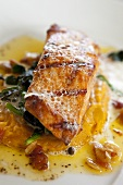 Broiled Salmon on top of Sweet Potato Puree and Sauteed Spinach
