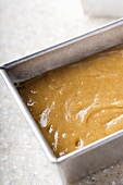 Pumpkin Bread Batter in Metal Loaf Pan