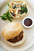 Pulled Barbecue Pork Sandwich with Pasta Salad