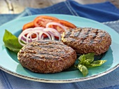 Two Grilled Beef Patties with Basil,Onions and Tomatoes